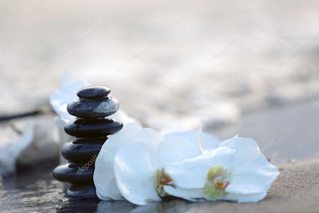 Spa stones with flowers on sea beach outdoors