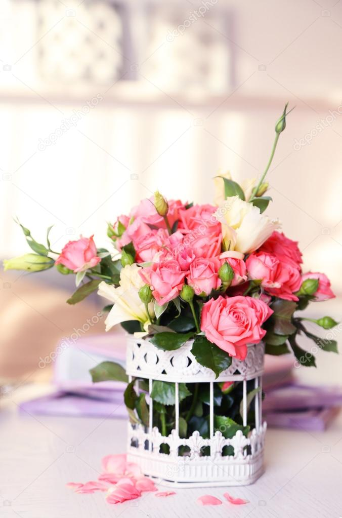Beautiful Rose In Vase On Table In Room On Bright Background Stock