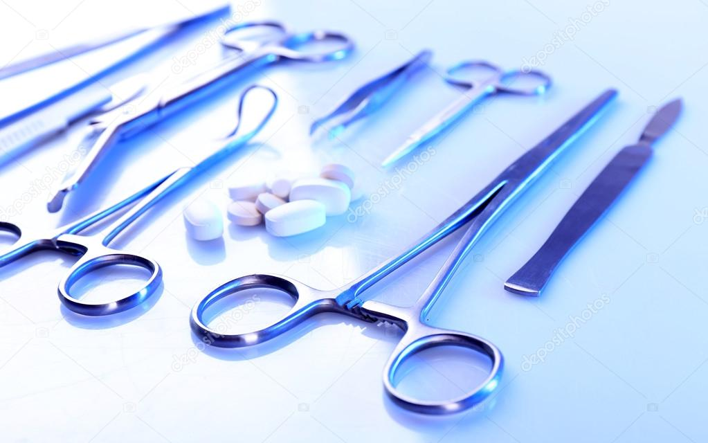 Surgery instruments isolated on white
