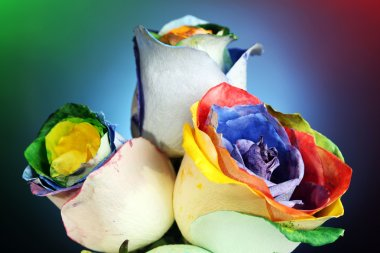 Beautiful bouquet of painted roses