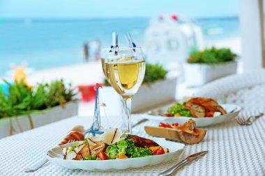 salad with served wine