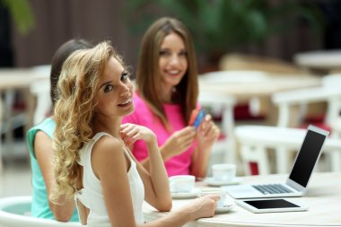 Beautiful young women with laptop