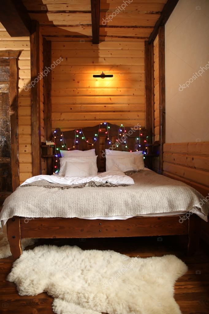 Wooden Lodge Bedroom Stock Photo Image By C Belchonock 89928938