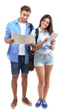 pair of happy tourists