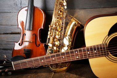 Close up view on musical instruments