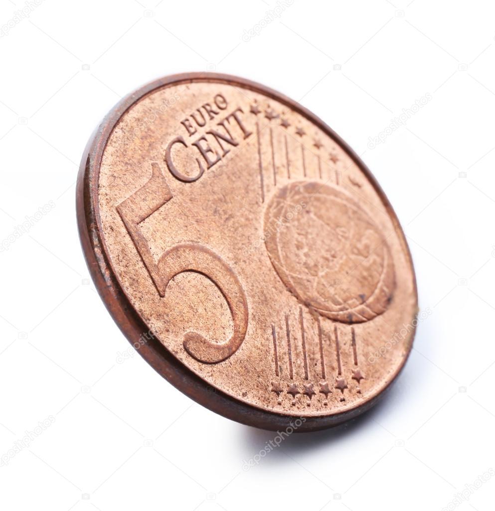 Fünf Cent Münze Die Isoliert Auf Weißem Hintergrund Stockfoto