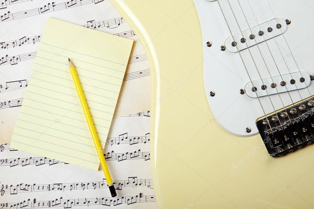 Dibujos Notas Musicales A Lapiz Guitarra Eléctrica Con