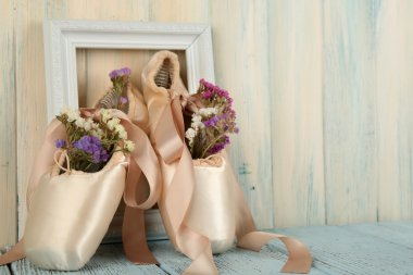 Decorated with flowers ballet shoes