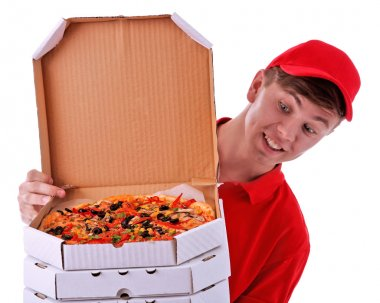 Delivery boy with pizza
