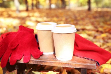 Autumn composition with hot beverages