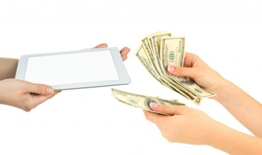Tablet PC and money on hands