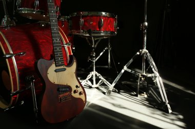 Musical instruments on a stage