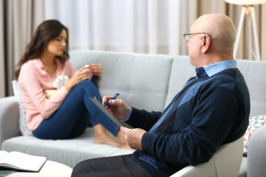 Woman on reception at psychologist