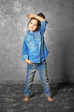 Portrait of little fashion kid girl