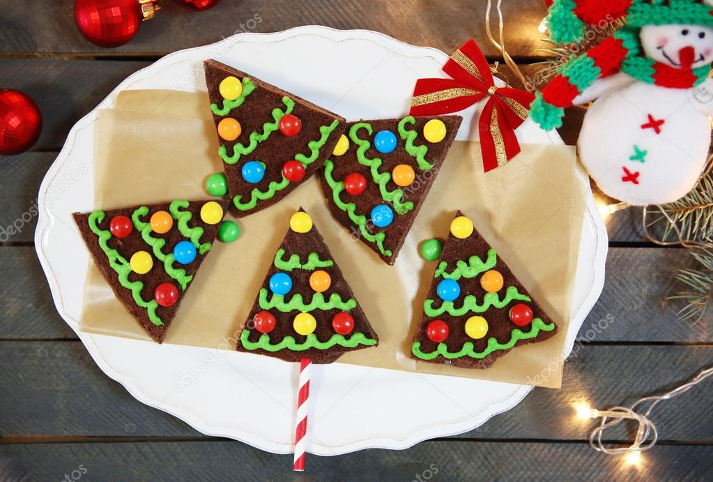 Delicious Colorful Christmas Cookies On Plate With Festive