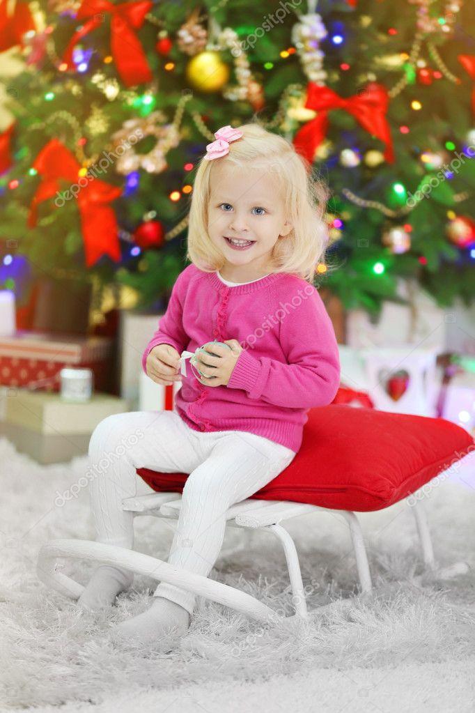 Funny Girl Living Room Christmas Tree Background — Stock Photo ...