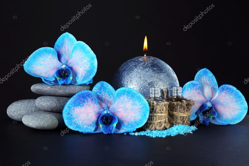jeu de spa belle orchid e bleue avec des cailloux. Black Bedroom Furniture Sets. Home Design Ideas