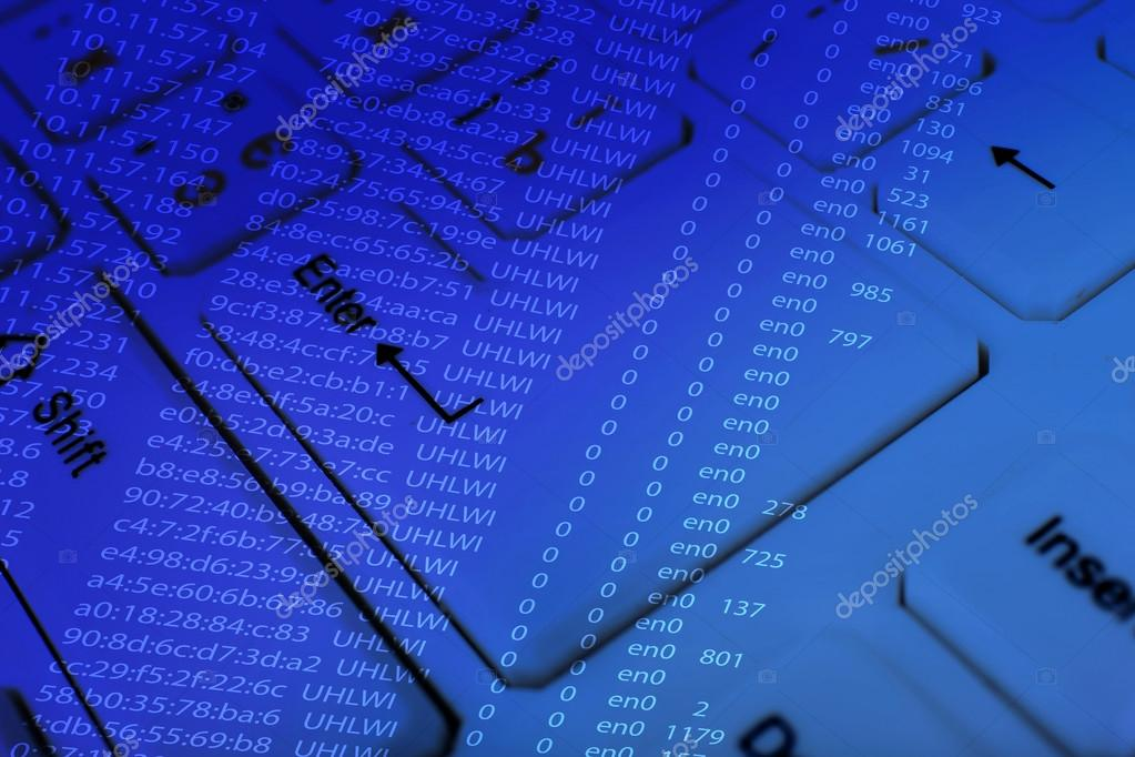Computer keyboard with program code — Stock Photo