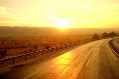 Beautiful sunrise over road