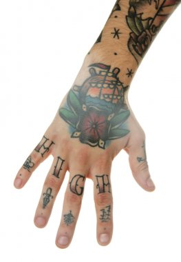 Abstract tattoo on male hand