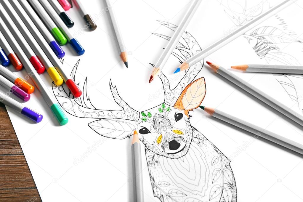 Colorante de ciervos con lápices — Foto de stock © belchonock #97768778