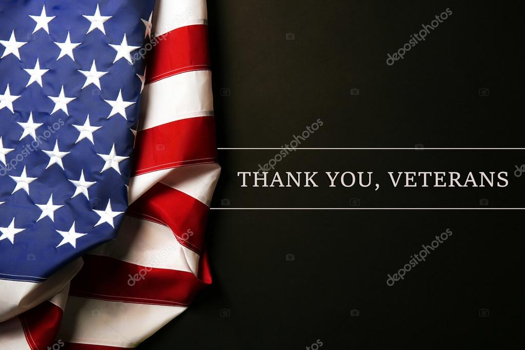 Text Thank A You Veterans Near American Flag Stock Photo