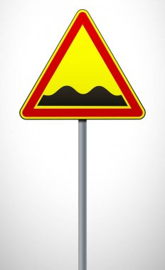 Warning road sign Rough road. The sign on the post. Traffic Laws. Signs and road markings. Vector illustration