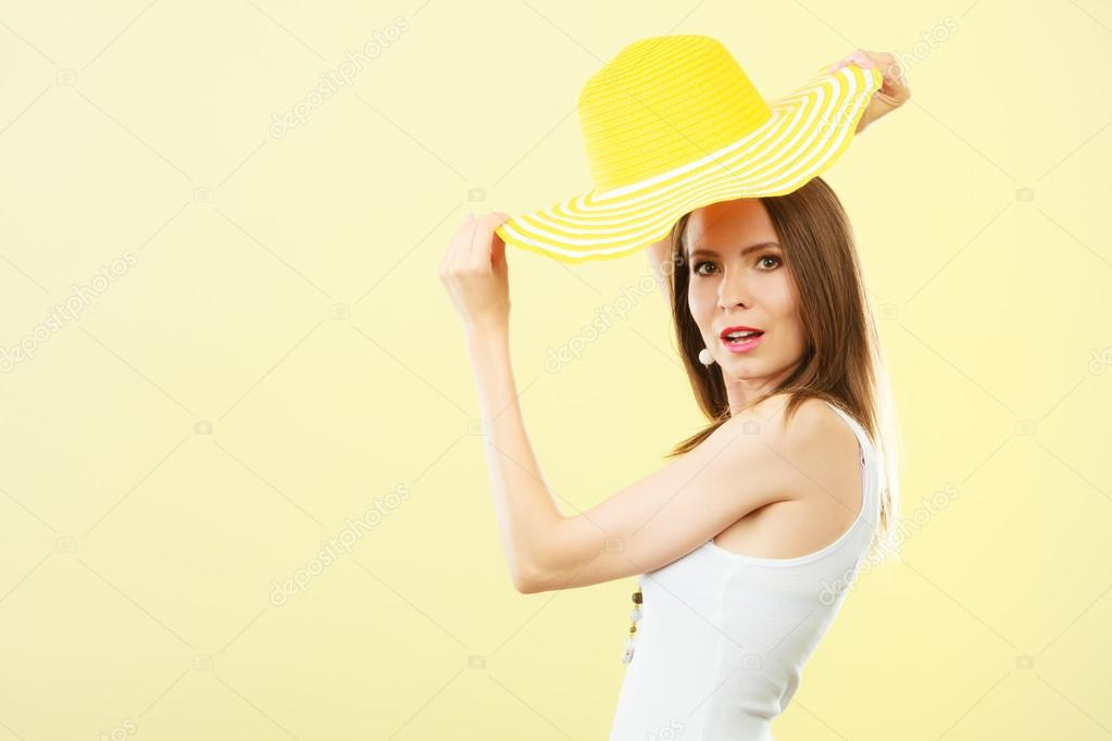 Woman In Big Yellow Summer Hat Stock Photo Anetlanda 86673418