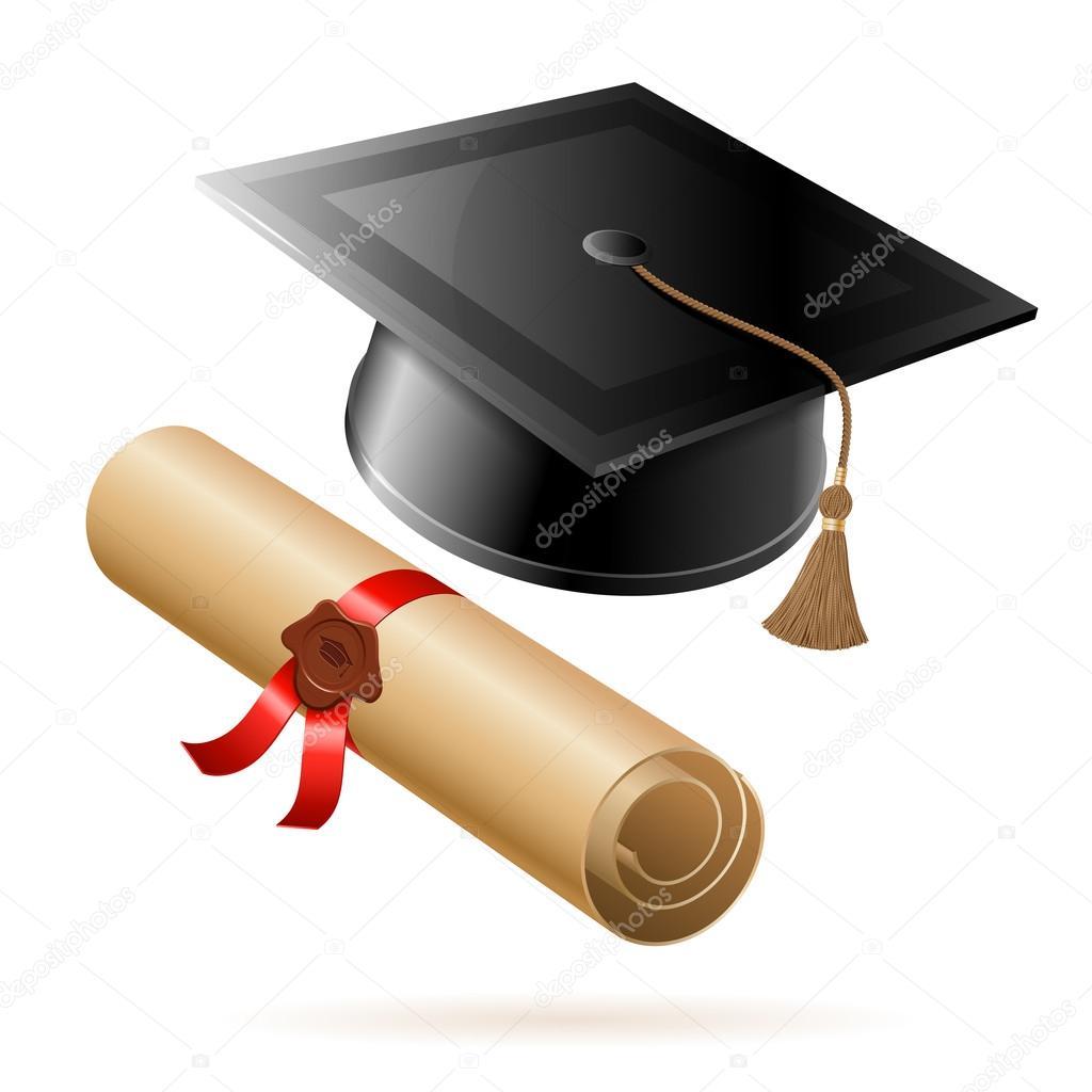 diploma e chap u00e9u de formatura vetor de stock  u00a9 talexey cap and diploma clip art black and white cap and diploma clipart