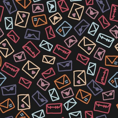 Seamless vector pattern of envelopes. Design for postal packaging. icon