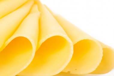 Cheese slices  on white