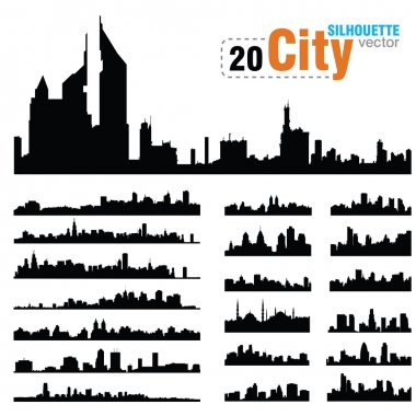 Vector silhouettes of city skylines