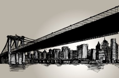 New York Brooklyn Bridge Hand Drawing
