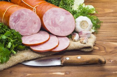 ham  sliced pork sausage with garlic and herb