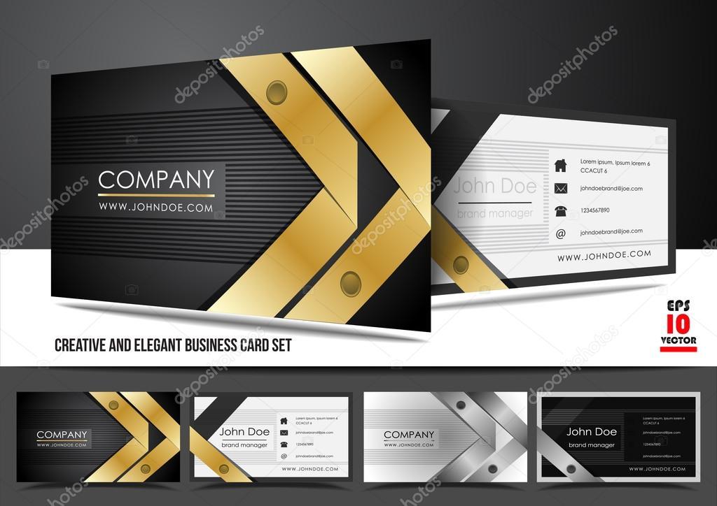 Luxe Simple Et Elegante Norme Horizontale Conception De Carte Visite Dans Les Couleurs Noir Or Blanc La Est Disponible Le Format