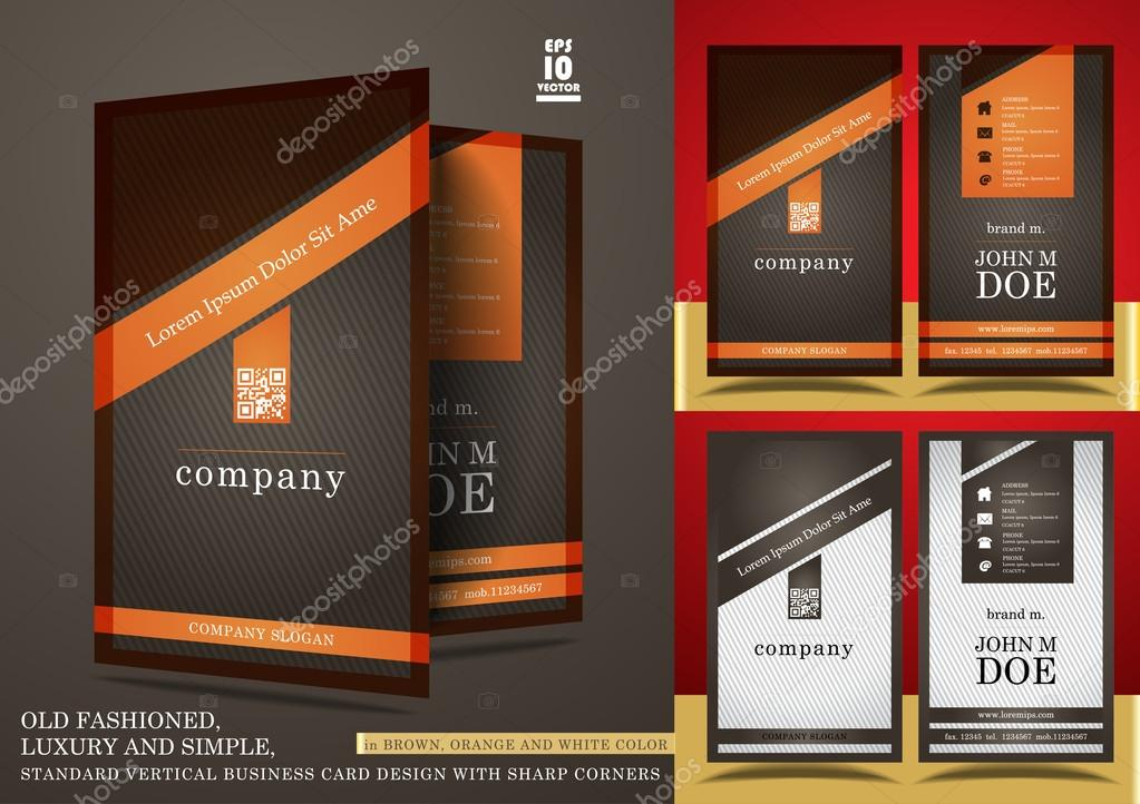 Old fashioned vertical business card design — Stock Vector ...