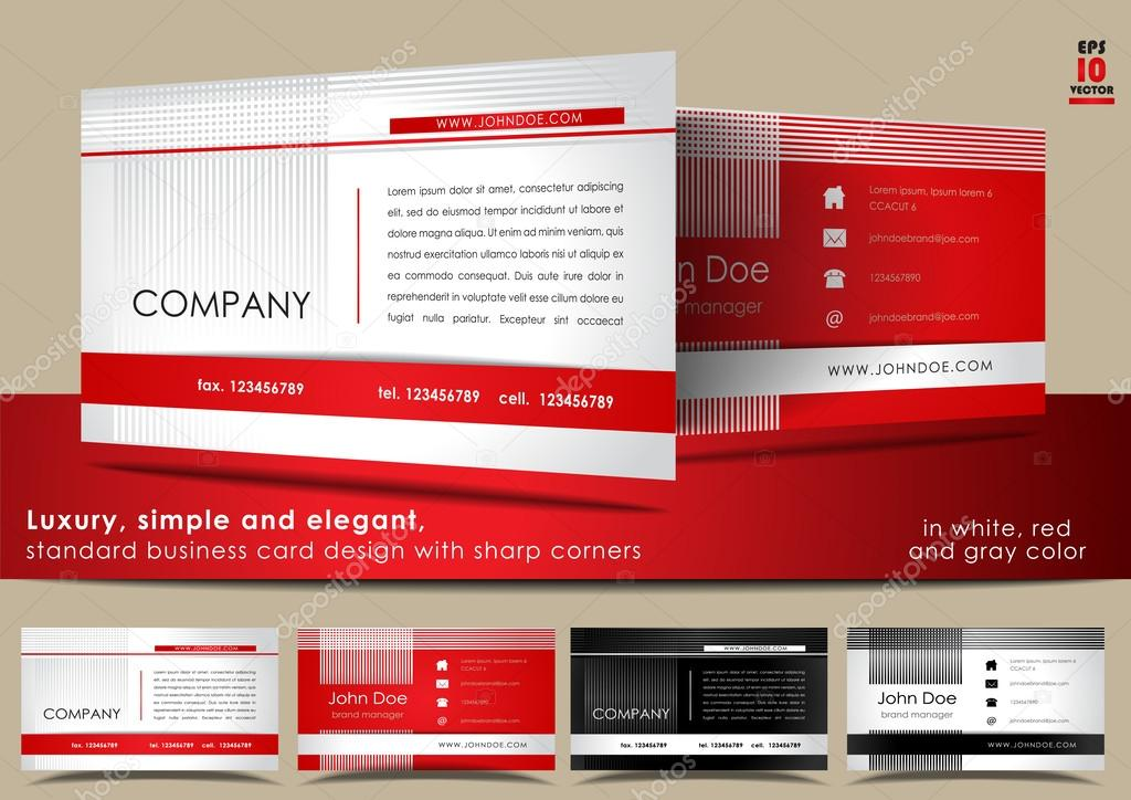 Simple and elegant, standard business card design in white, red and ...