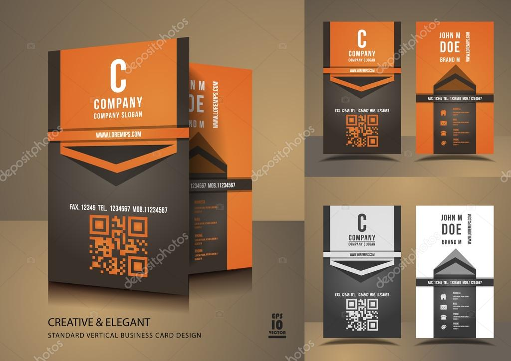Cartes De Visite Creatives En Orange Et Brun Image Vectorielle
