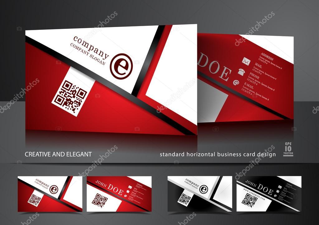 Kreative Visitenkarten Design In Rot Und Weiß Stockvektor