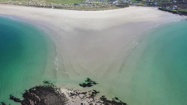 Aerial view of the awarded Narin Beach by Portnoo and Inishkeel Island in County Donegal, Ireland.