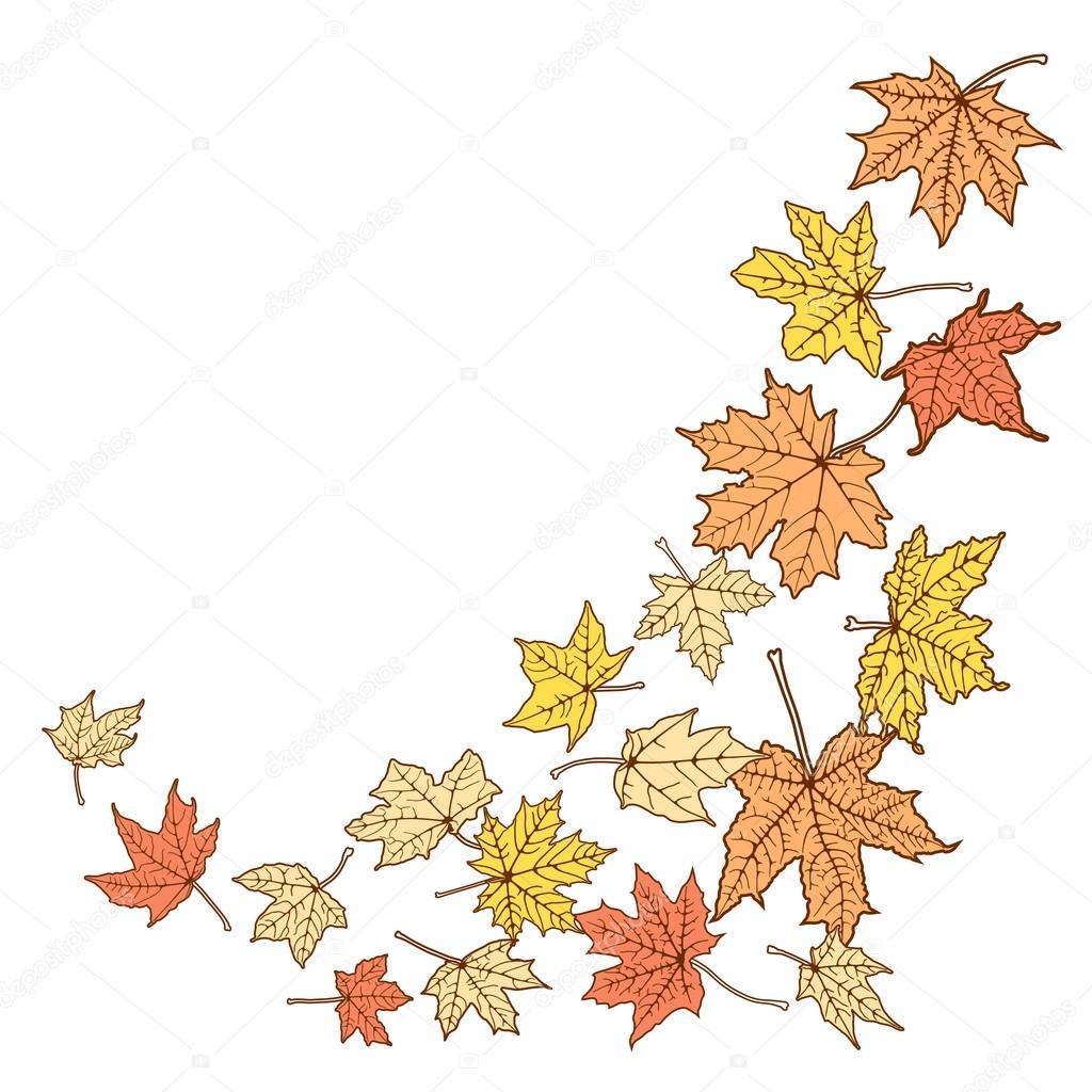 Plantilla de hojas otoñal de color — Archivo Imágenes Vectoriales ...