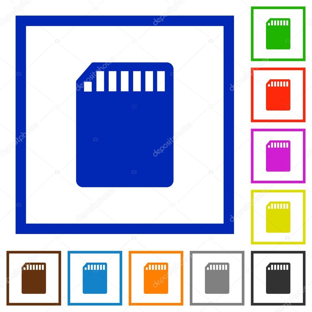 Tarjeta de memoria SD iconos planos con marco — Archivo Imágenes ...