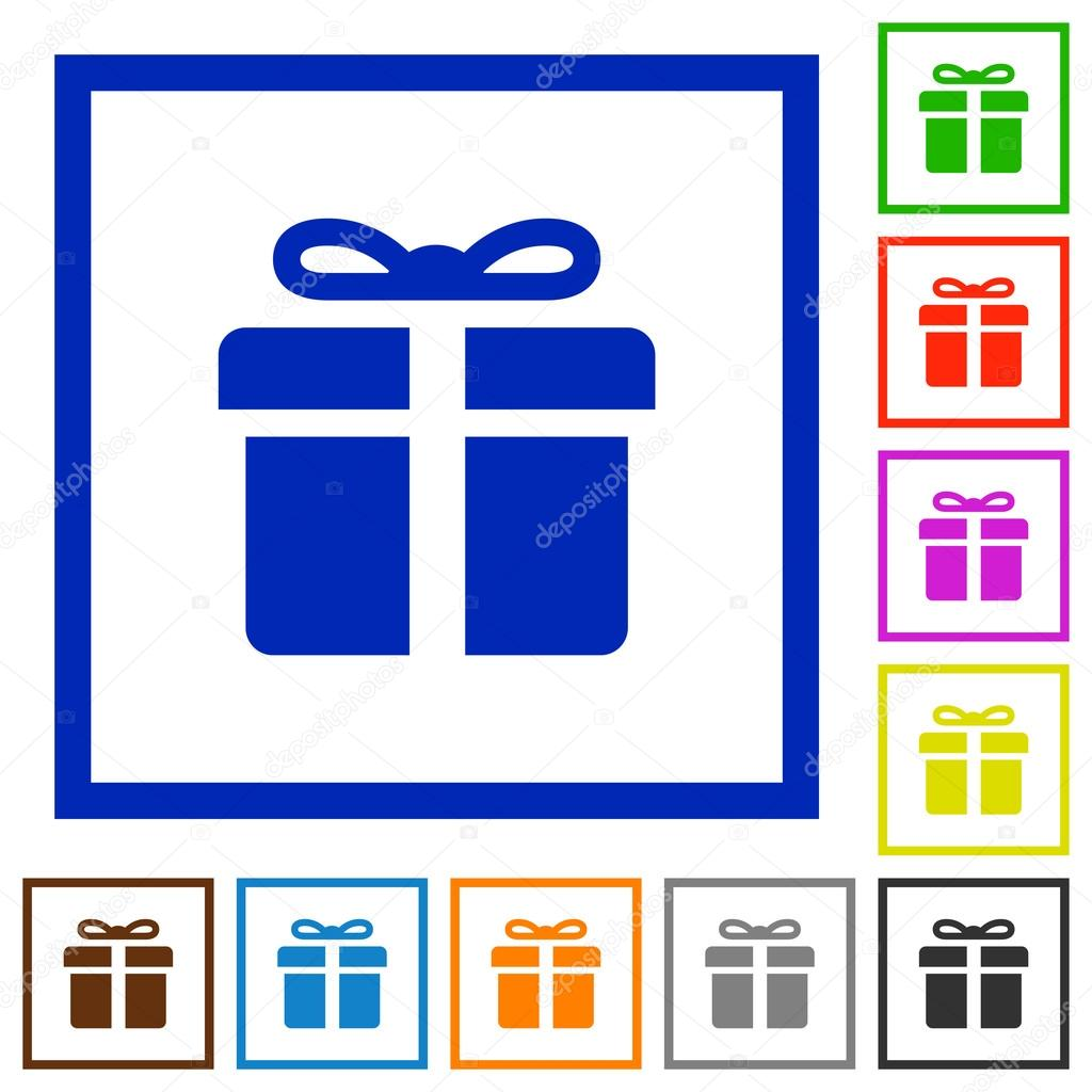 Gift box framed flat icons stock vector renegadehomie 102821160 gift box framed flat icons stock vector negle Choice Image