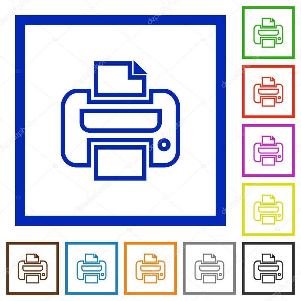 Imprimir iconos planos enmarcados — Vector de stock © renegadehomie ...