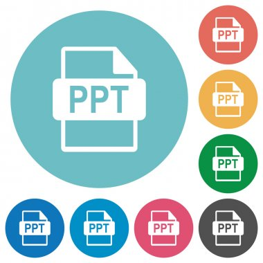 Flat PPT file format icons