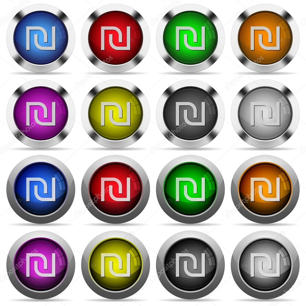 Israeli New Shekel Sign Glossy Button Set Stock Vector