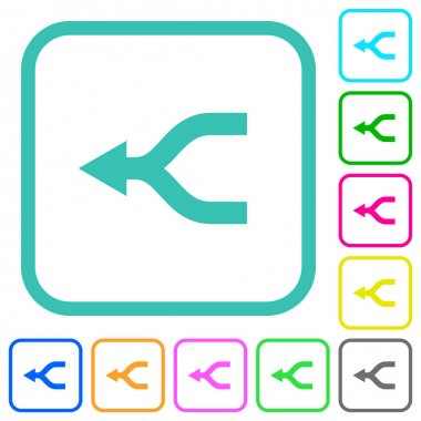 Merge arrows left vivid colored flat icons in curved borders on white background icon