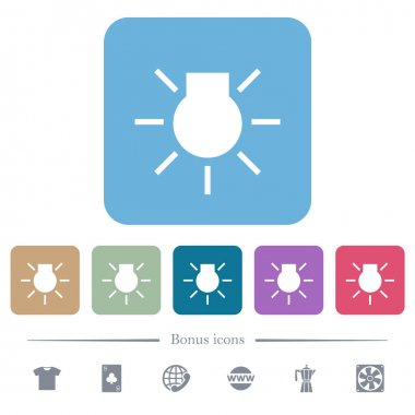 Car parking lights indicator white flat icons on color rounded square backgrounds. 6 bonus icons included icon