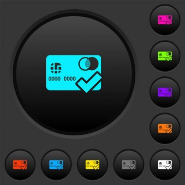 Accept credit card dark push buttons with vivid color icons on dark grey background icon