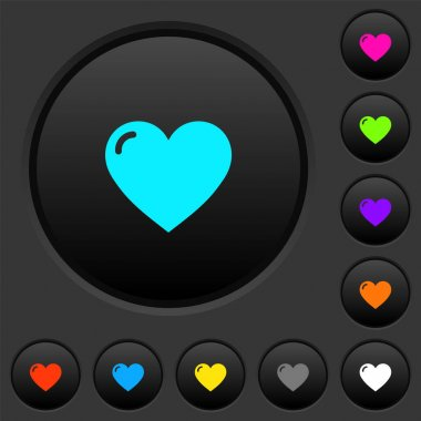 Heart shape dark push buttons with vivid color icons on dark grey background icon